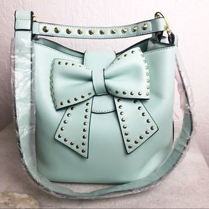 NWT Betsey Johnson bow and studded tote bag